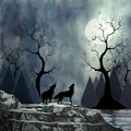 Wolves howling at the moon bathed in moonlight two howl forest blues and an icy lake surround them Stock Photo