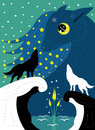 Wolves and moon flower illustration vector Royalty Free Stock Photo