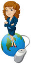 A woman above the globe with a computer mouse illustration of on white background Royalty Free Stock Photo