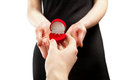 Woman accepting ring and saying yes to marriage proposal isolated closeup shot of women Royalty Free Stock Photo