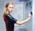 Woman with access card picture of futuristic Stock Photos