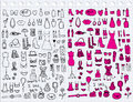 Woman accessories hand drawn set of Royalty Free Stock Images