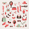 Woman accessories icons set of gloves shoes hats and jewelry vector illustration Royalty Free Stock Photos
