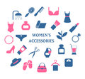 Woman accessories icons set vector Royalty Free Stock Photo