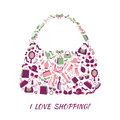 Woman accessories shopping bag purse made of girl and love text poster vector illustration Stock Photos