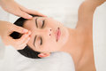 Woman in an acupuncture therapy at the health spa Royalty Free Stock Image