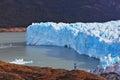 The woman admire the icy splendor tourist white blue giant lake perito moreno glacier Royalty Free Stock Images