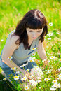 Woman admiring camomile beautiful dark haired sitting on a grass Stock Images