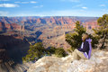 Woman admiring the Grand Canyon, Arizona Royalty Free Stock Images
