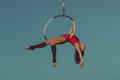 Woman aerial acrobat. Royalty Free Stock Photo