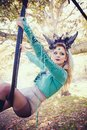 Woman aerial hoop  dance in forest Royalty Free Stock Photo