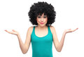 Woman with afro hair expressing confusion Royalty Free Stock Photos