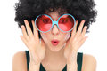 Woman with afro and sunglasses Royalty Free Stock Photography