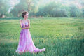 Woman in airy pink dress Royalty Free Stock Photo
