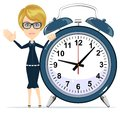 Woman with alarm clock.