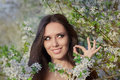 Woman with Allergy Holding Anti Allergic Pills in Spring Blooming Decor Royalty Free Stock Photo