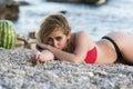 Woman with amazing body in tanga bikini Royalty Free Stock Photo