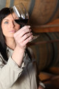 Woman analyzing wine a characteristics of a red glass Royalty Free Stock Image