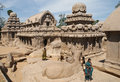 Woman in ancient temples in mahabalipuram indian women visiting hindu five rathas india Royalty Free Stock Photography