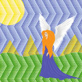 Woman angel on mosaic background colorful landscape hand drawing vector illustration Stock Photo
