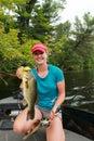 Woman Angler Large Mouth Bass Fishing Royalty Free Stock Photo