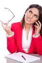 Woman with angry expression young a talking on the phone Stock Photo
