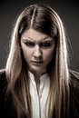 Woman angry portrait of young Stock Image
