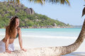 Woman at Anse Volbert, Seychelles Royalty Free Stock Images
