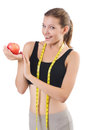Woman with apple doing exercises on white Royalty Free Stock Photo