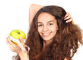 Woman with apple and measuring tape Stock Photo