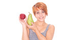 Woman with apple and pear young Royalty Free Stock Photo