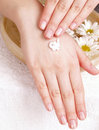 Woman applying cream to her hands Royalty Free Stock Photography
