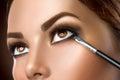 Woman applying eye makeup closeup Royalty Free Stock Photo