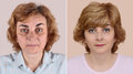 Woman before and after applying make-up and hairstyling Royalty Free Stock Photo