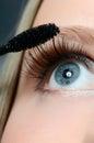 Woman applying mascara on her eyelashes macro shot Stock Images