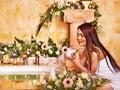 Woman applying moisturizer at bathroom Royalty Free Stock Photo