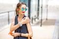 Woman applying sunscreen lotion Royalty Free Stock Photo