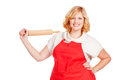 Woman with apron and rolling pin young Stock Photography