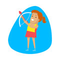 Woman archery, Sports Icon Royalty Free Stock Photo