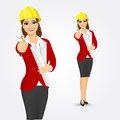 Woman architect with blueprints Royalty Free Stock Photo