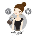 Woman With Aries Zodiac Sign Royalty Free Stock Photo