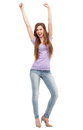 Woman with arms raised young Royalty Free Stock Photos