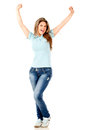 Woman with arms up Royalty Free Stock Images