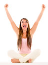 Woman with arms up beautiful celebrating Royalty Free Stock Image