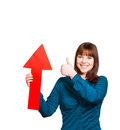 Woman with an arrow is thinking positive and shows her optimism Royalty Free Stock Photos