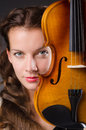 Woman artist with violin in music concept Royalty Free Stock Photography