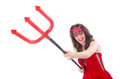 Woman as red devil in halloween concept Royalty Free Stock Photography