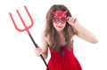 Woman as red devil in halloween concept Stock Photos