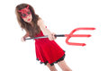 Woman as red devil in halloween concept Stock Image