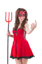 Woman as red devil in halloween concept Stock Photography